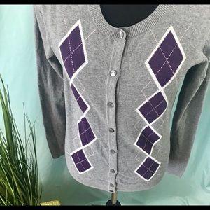 Merona gray and purple argyle cardigan